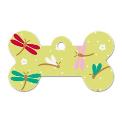 Colorful Dragonflies And White Flowers Pattern Dog Tag Bone (one Side)