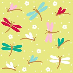 Colorful Dragonflies And White Flowers Pattern Magic Photo Cubes