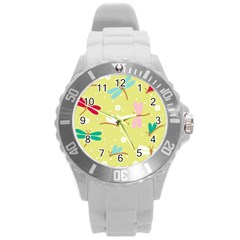 Colorful Dragonflies And White Flowers Pattern Round Plastic Sport Watch (l)