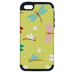 Colorful Dragonflies And White Flowers Pattern Apple Iphone 5 Hardshell Case (pc+silicone)