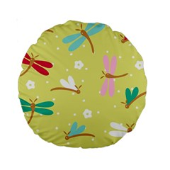 Colorful Dragonflies And White Flowers Pattern Standard 15  Premium Round Cushions
