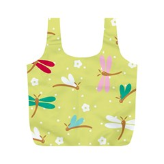 Colorful Dragonflies And White Flowers Pattern Full Print Recycle Bags (m)