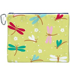 Colorful Dragonflies And White Flowers Pattern Canvas Cosmetic Bag (xxxl)