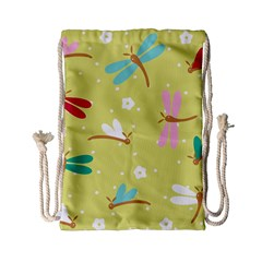 Colorful Dragonflies And White Flowers Pattern Drawstring Bag (small)