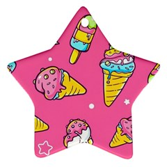 Summer Ice Creams Flavors Pattern Ornament (star)