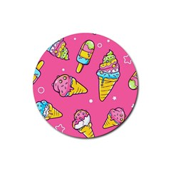 Summer Ice Creams Flavors Pattern Rubber Coaster (round)