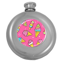 Summer Ice Creams Flavors Pattern Round Hip Flask (5 Oz)