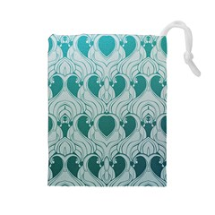 Teal Art Nouvea Drawstring Pouches (large)