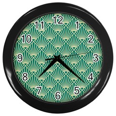 Green Fan  Wall Clocks (black)