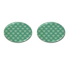 Green Fan  Cufflinks (oval)