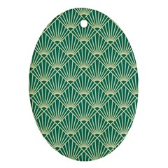 Green Fan  Oval Ornament (two Sides)