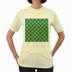 Green Fan  Women s Yellow T Shirt