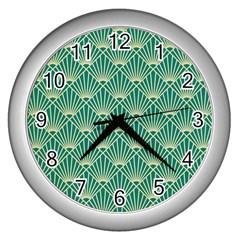 Green Fan  Wall Clocks (silver)