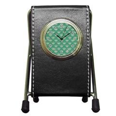 Green Fan  Pen Holder Desk Clocks