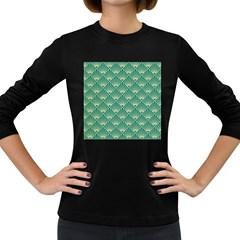 Green Fan  Women s Long Sleeve Dark T Shirts