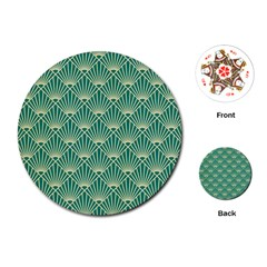 Green Fan  Playing Cards (round)