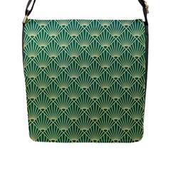 Green Fan  Flap Messenger Bag (l)