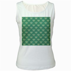 Green Fan  Women s White Tank Top