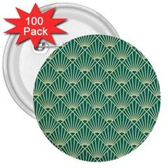 Green Fan  3  Buttons (100 Pack)