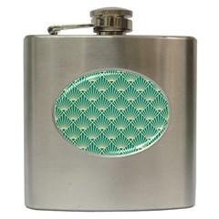 Green Fan  Hip Flask (6 Oz)