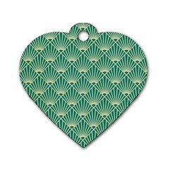 Green Fan  Dog Tag Heart (two Sides)