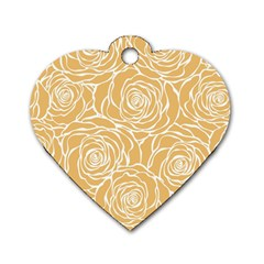 Yellow Peonines Dog Tag Heart (two Sides)