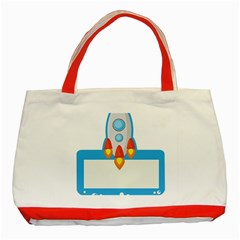Rocket Spaceship Clip Art Clipart Classic Tote Bag (red)