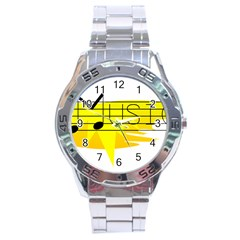 Music Dance Abstract Clip Art Stainless Steel Analogue Watch