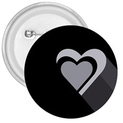 Heart Love Black And White Symbol 3  Buttons
