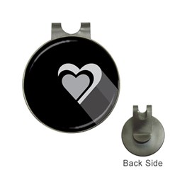 Heart Love Black And White Symbol Hat Clips With Golf Markers