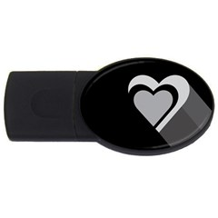 Heart Love Black And White Symbol Usb Flash Drive Oval (4 Gb)