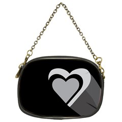 Heart Love Black And White Symbol Chain Purses (one Side)