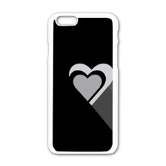 Heart Love Black And White Symbol Apple Iphone 6/6s White Enamel Case