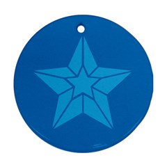 Star Design Pattern Texture Sign Round Ornament (two Sides)