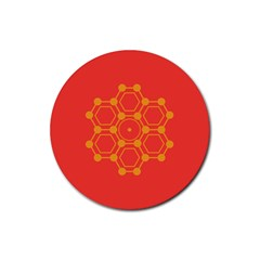 Pentagon Cells Chemistry Yellow Rubber Coaster (round)