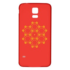 Pentagon Cells Chemistry Yellow Samsung Galaxy S5 Back Case (white)