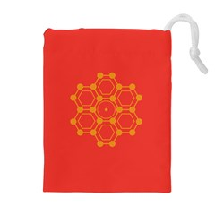 Pentagon Cells Chemistry Yellow Drawstring Pouches (extra Large)