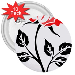 Flower Rose Contour Outlines Black 3  Buttons (10 Pack)