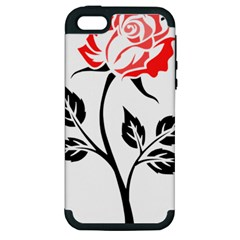 Flower Rose Contour Outlines Black Apple Iphone 5 Hardshell Case (pc+silicone)