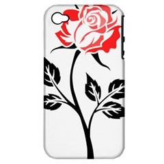 Flower Rose Contour Outlines Black Apple Iphone 4/4s Hardshell Case (pc+silicone)