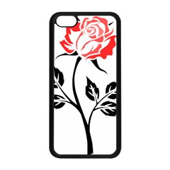 Flower Rose Contour Outlines Black Apple Iphone 5c Seamless Case (black)