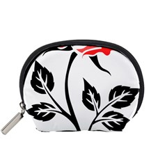 Flower Rose Contour Outlines Black Accessory Pouches (small)