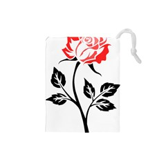 Flower Rose Contour Outlines Black Drawstring Pouches (small)