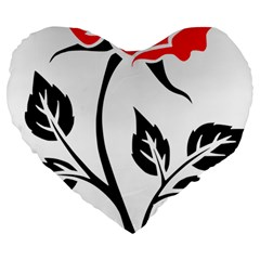 Flower Rose Contour Outlines Black Large 19  Premium Flano Heart Shape Cushions