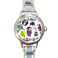 Space Clip Art Aliens Space Craft Round Italian Charm Watch
