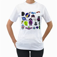Space Clip Art Aliens Space Craft Women s T Shirt (white) (two Sided)