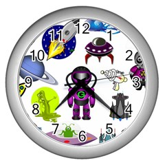 Space Clip Art Aliens Space Craft Wall Clocks (silver)