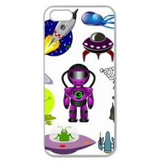 Space Clip Art Aliens Space Craft Apple Seamless Iphone 5 Case (clear)