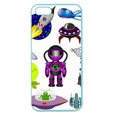 Space Clip Art Aliens Space Craft Apple Seamless Iphone 5 Case (color)