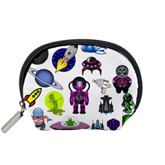 Space Clip Art Aliens Space Craft Accessory Pouches (small)